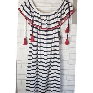 Crown & Ivy Ruffle Off The Shoulder Nautical Dress
